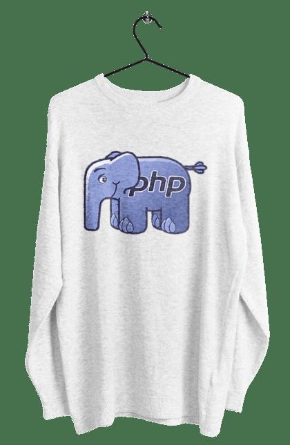 Світшот чоловічий з принтом Мова Програмування, Слон. День програміста, мова програмування, програма, програміст, слон. BlackLine