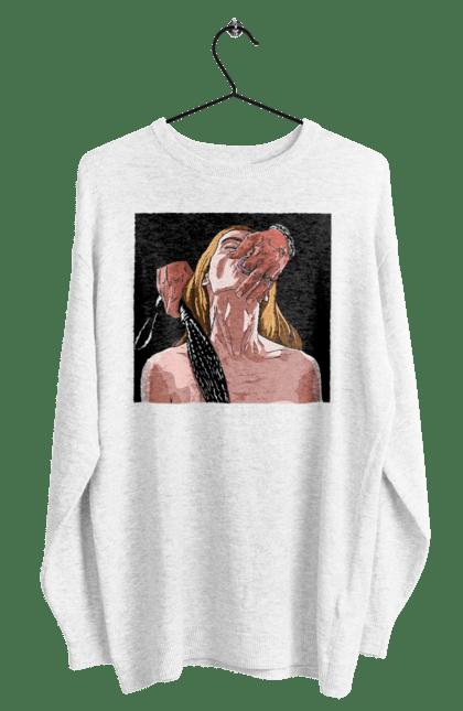 Світшот чоловічий з принтом Дівчина У Полоні Чоловіка З Батогами. 18+, батіг, пристрасть, смоктати. BlackLine