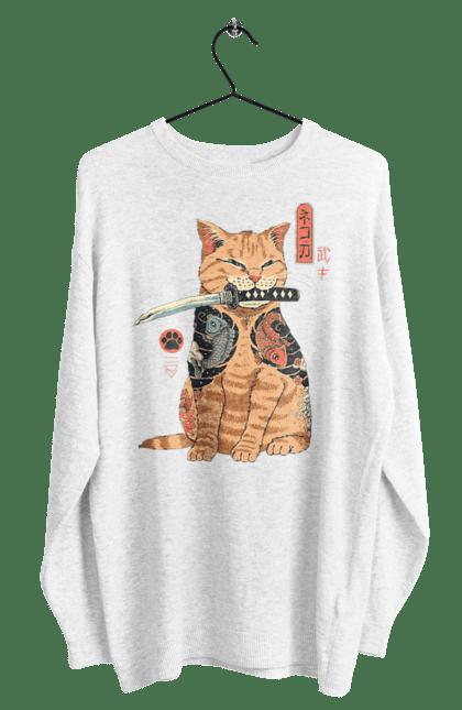 Світшот чоловічий з принтом Кот Самурай. Кіт, ніж, самурай, тварина. CustomPrint.market