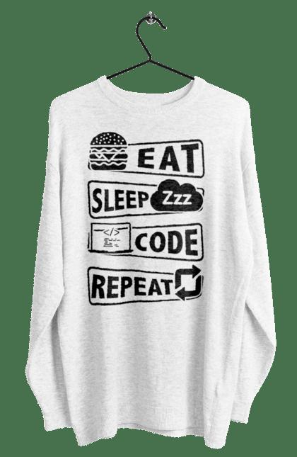 Світшот чоловічий з принтом Їжа, Сон, Код, Повторити, Програміст Чорний. День програміста, їжа, код, програміст, сон. BlackLine