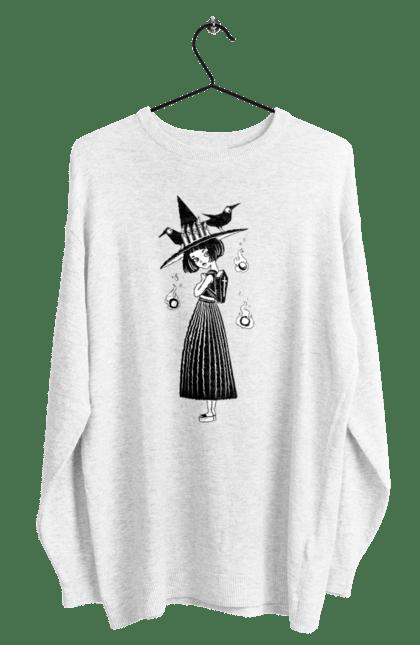 Світшот чоловічий з принтом Відьмочка в капелюсі з воронами. Ведьма, відьма, ворона, капелюх, рюкзак, хеллоуин, шляпа. CustomPrint.market