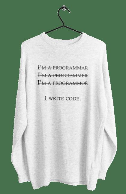 Світшот чоловічий з принтом Я Пишу Код, Програміст, Чорний. День програміста, клд, пишу код, програма, програміст. BlackLine