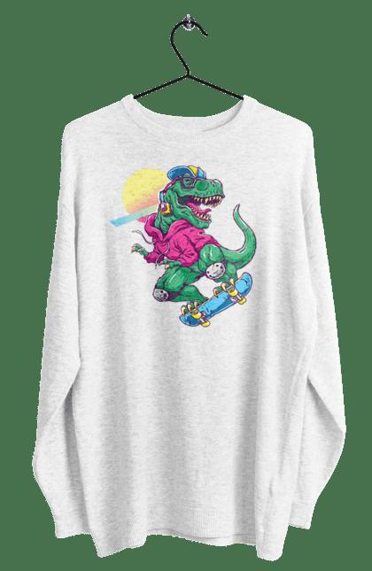 Світшот чоловічий з принтом Динозавр В Навушниках І На Скейті CustomPrint.market