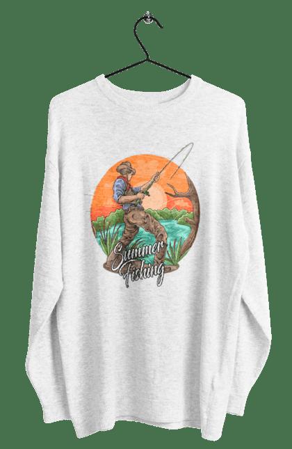 Світшот чоловічий з принтом День Рибака Літня Риболовля CustomPrint.market