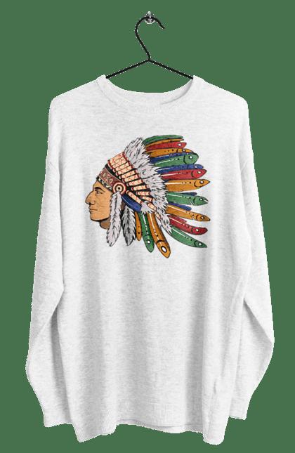 Світшот чоловічий з принтом Індіанець, Вид Збоку