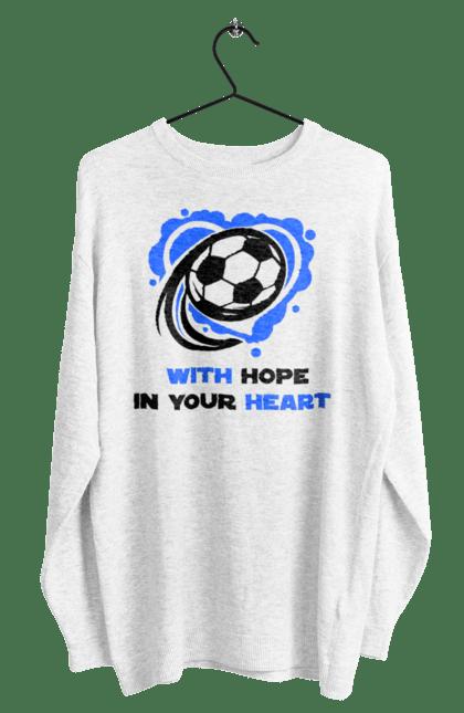 Світшот чоловічий з принтом Футбол в серці синій. Футбол. BlackLine