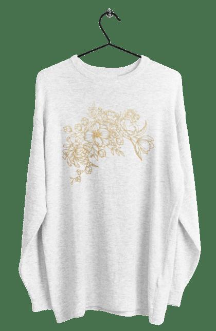 Світшот чоловічий з принтом Золотистые Цветы. Візерунок, квіти, квітка. BlackLine