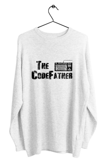 Світшот чоловічий з принтом Батько Коду, Клавіатура, Чорний. День програміста, клавіатура, код, програміст. BlackLine