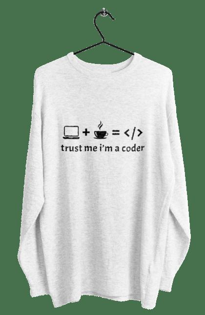 Світшот чоловічий з принтом Повір Мені, Я Кодувальник, Чорний. День програміста, код, программсіт. BlackLine