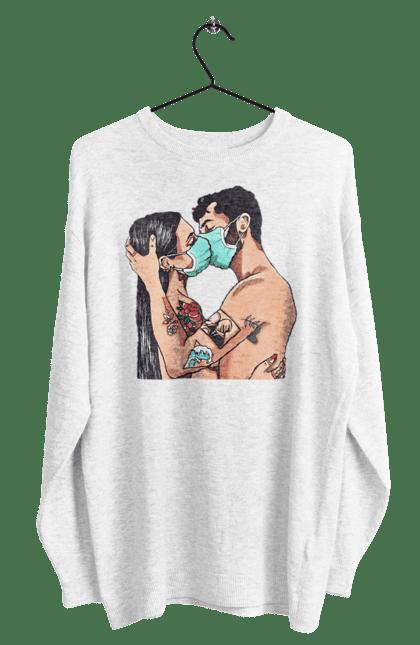 Світшот чоловічий з принтом Коронавірусна Любов. Карантин, коронавірус, кохання, маска, поцілунок. BlackLine