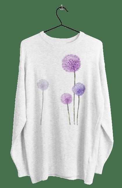 Світшот чоловічий з принтом Фіолетові Кульбаби. Квітка, кульбаба, кульбаби. BlackLine