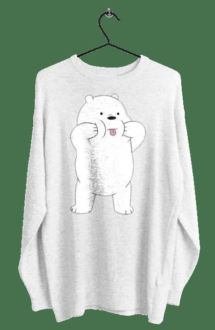 Світшот чоловічий з принтом Ведмідь Показує Язика. Ведмідь, мова. CustomPrint.market