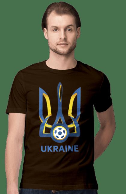 Футболка чоловіча з принтом Футбол Герб України 2020. Герб україни, євро 2020, футбол. BlackLine