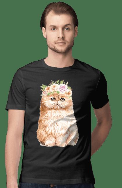 Футболка чоловіча з принтом Руде котеня у вінку. Вінок, кіт, котеня, котик.