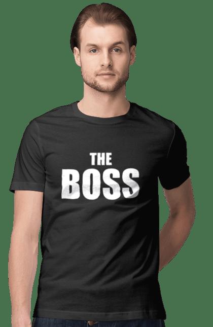 Футболка чоловіча з принтом The Boss. Батько, бос, головний, парні, сімейні.