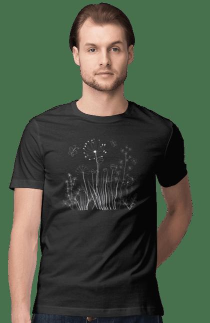 Футболка чоловіча з принтом Контурні Лінії Квітів, Білий. Квітка, кульбаба. BlackLine