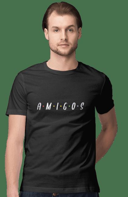 Футболка чоловіча з принтом Amigos Friends. Амигос, вітання, друзі, літо. CustomPrint.market