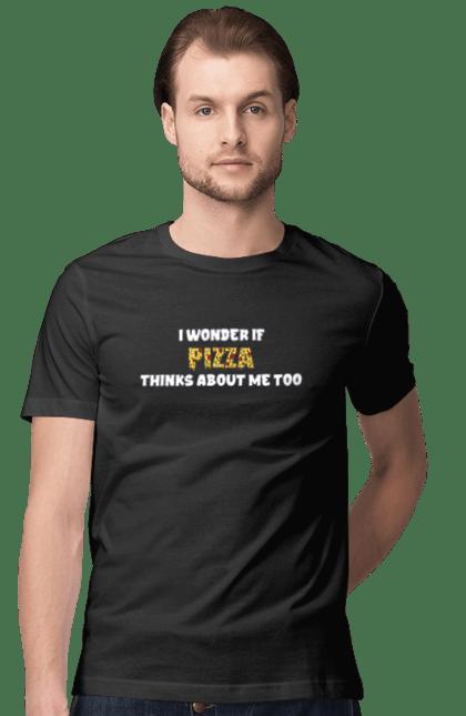 Футболка чоловіча з принтом Цікаво, Чи Думає Піца Про Мене Теж. Напис, піца. CustomPrint.market