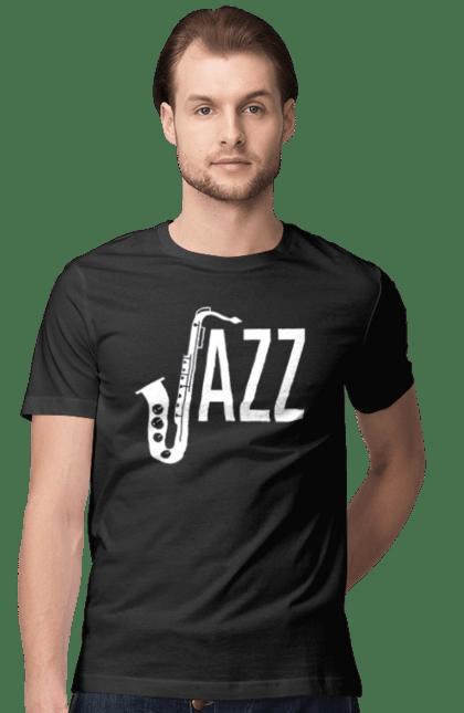Футболка чоловіча з принтом Джаз, Білий. Джаз, музика. CustomPrint.market
