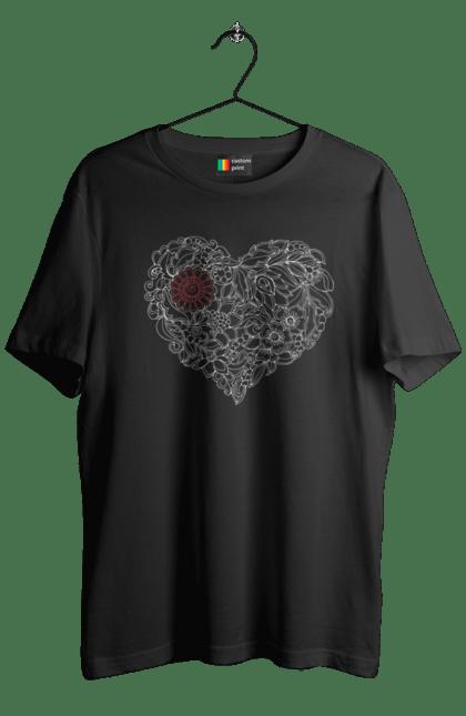 Футболка чоловіча з принтом Серце Візерункове З Квітів. Візерунок, квітка, серце. BlackLine