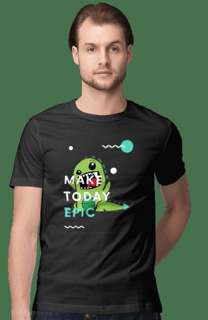 Футболка чоловіча з принтом Сделай Сегодняшний День Эпическим. Динозавр, забавный принт, принт с динозавром, сделай сегодняшний день эпическим, футболка з динозавром, эпический день. CustomPrint.market