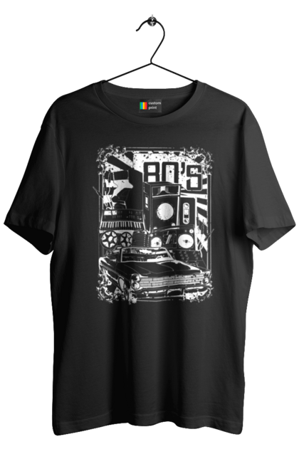 Футболка чоловіча з принтом 80 Е, Машина І Музика. 80, 80ті, машина, музика. BlackLine