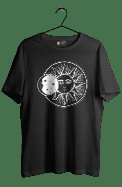 Футболка чоловіча з принтом Сонце І Місяць, Білий. День, місяць, ніч, сонце. CustomPrint.market