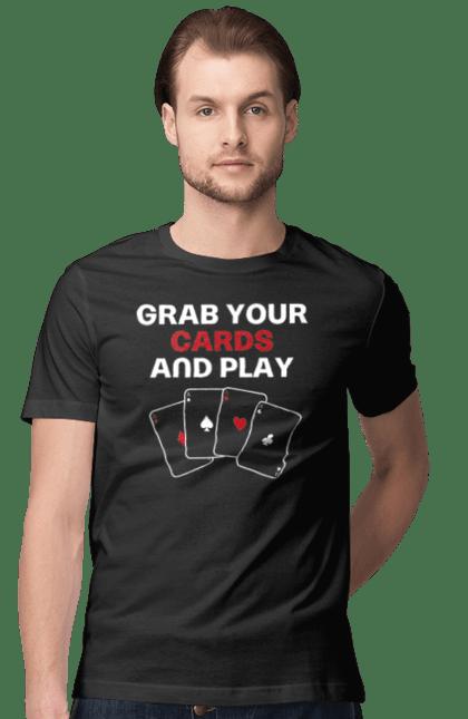 Футболка чоловіча з принтом Бери карти і грай англ. Казино, карти, масті, покер, тузи. CustomPrint.market