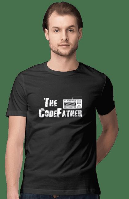 Футболка чоловіча з принтом Батько Коду, Клавіатура, Білий. День програміста, клавіатура, код, програміст. BlackLine