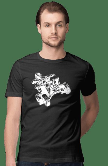 Футболка чоловіча з принтом Людина На Квадроциклі Білий. Гонки, квадроцикл, экстрим.