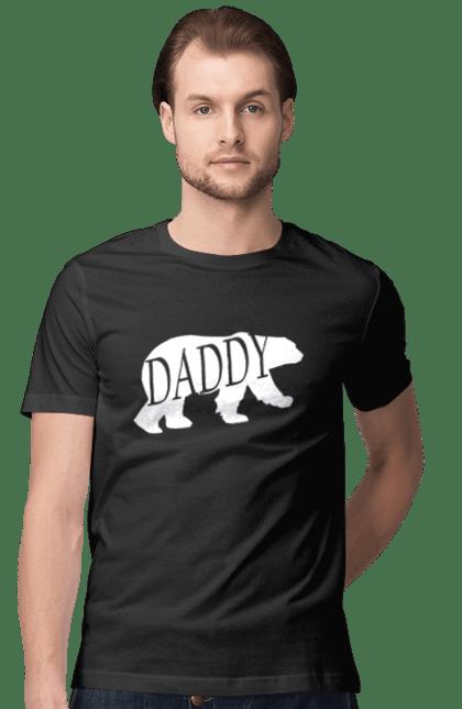 Футболка чоловіча з принтом Папа ведмідь. Батько, ведмідь, сімейні. CustomPrint.market