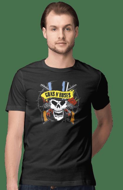 Футболка чоловіча з принтом Ганз`н`роузес череп. Ганз`н`роузес, група, музика, рок. CustomPrint.market