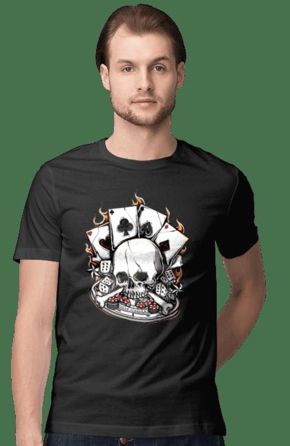 Футболка чоловіча з принтом Вогняний казино. Казино, карти, покер, скелет, череп. CustomPrint.market