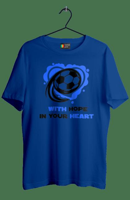 Футболка чоловіча з принтом Футбол в серці синій. Футбол. BlackLine