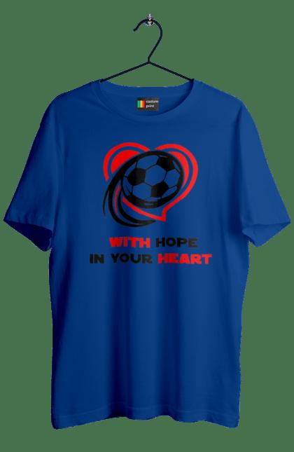 Футболка чоловіча з принтом Футбол в серці. Футбол. BlackLine