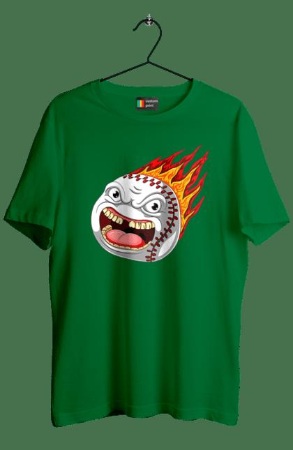 Футболка чоловіча з принтом Бейсбольний Вогняний М'яч. Бейсбол, вогонь, м'яч, політ. BlackLine