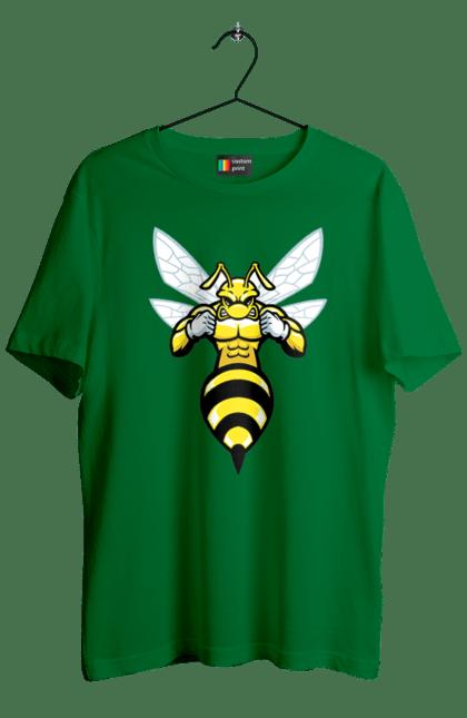 Футболка чоловіча з принтом Бджола Качок. Бджола, качок, комаха. BlackLine