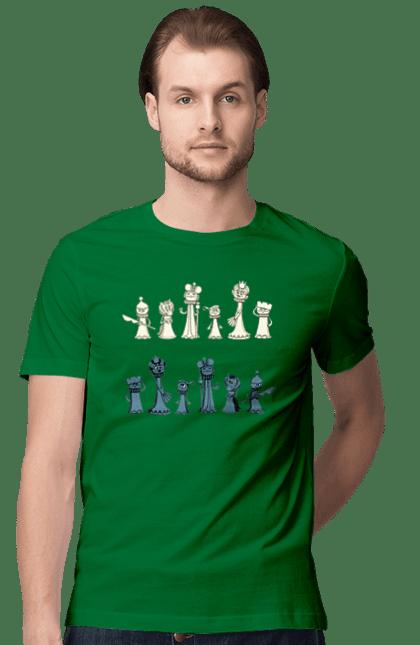 Футболка чоловіча з принтом Мультяшні Шахи. Настільна гра, шахи. BlackLine
