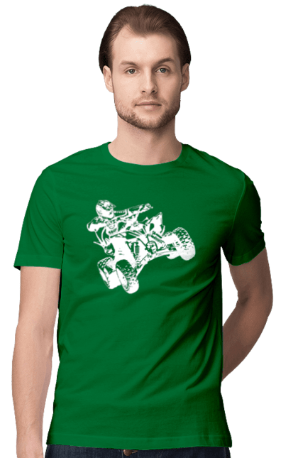 Футболка чоловіча з принтом Людина На Квадроциклі Білий. Гонки, квадроцикл, экстрим. BlackLine