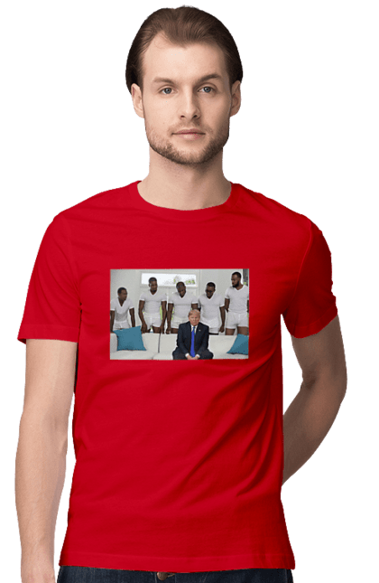 Футболка чоловіча з принтом Трамп 2020. Америка, дональд трамп, президент, сша. BlackLine