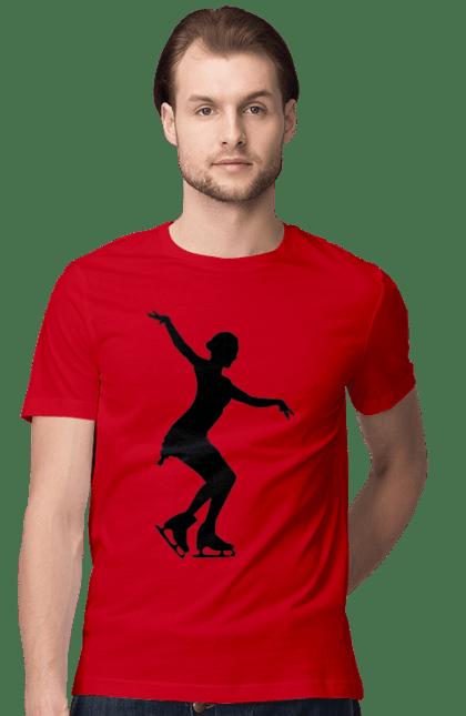 Футболка чоловіча з принтом Силует Дівчини На Ковзанах. Дівчина, ковзани, силует. BlackLine