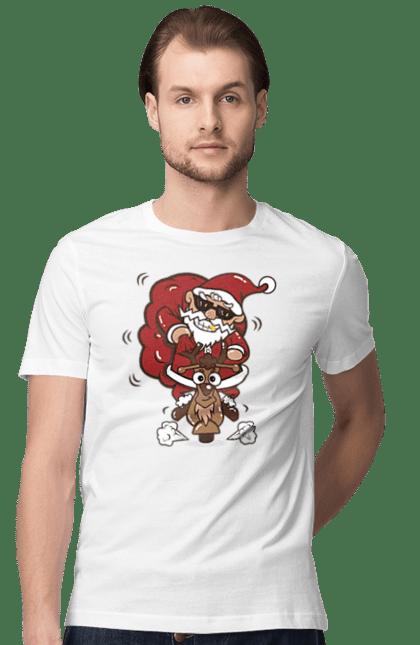 Футболка чоловіча з принтом Санта і олень. Новий рік, олень, різдво, санта, свято. CustomPrint.market