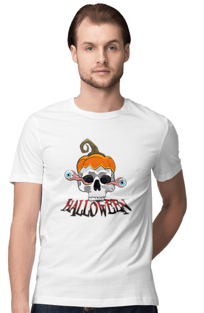 Футболка чоловіча з принтом Череп с выпадающими глазами. Глаза, тыква, хеллоуин, череп, шляпа тыква. CustomPrint.market