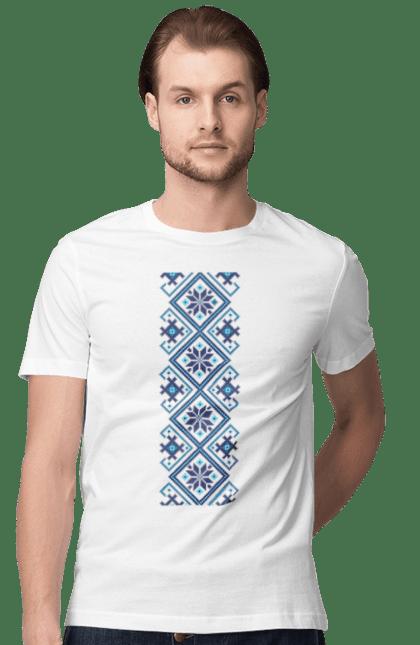 Футболка чоловіча з принтом Вишиванка М1. Вишиванка, символіка, україна. BlackLine