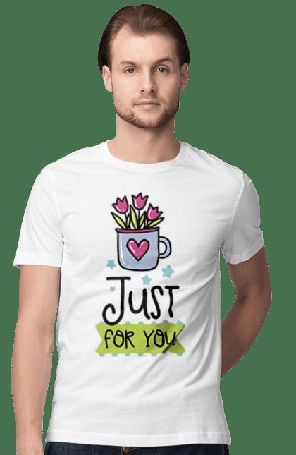 Футболка чоловіча з принтом Квіточки для тебе. Для тебе, з днем валентина, квіти, серце, чашка. BlackLine