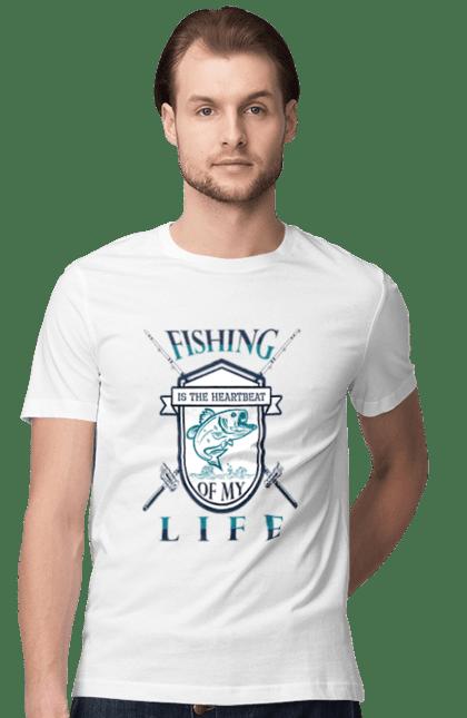 Футболка чоловіча з принтом День Рибалки Рибловля Це Серцебиття. Відпочинок, день, отдых, развлечения, рибалка, рибалки, розваги, рыбаки, рыбалка, спорт, хобби, хобі.