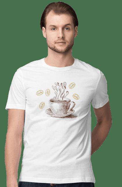 Футболка чоловіча з принтом Кава І Кавові Зерна. Кава, кавові зерна, осінь, чашка. CustomPrint.market