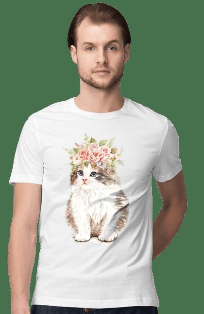 Футболка чоловіча з принтом Біло-сіре котеня у вінку. Вінок, кіт, котеня, котик.