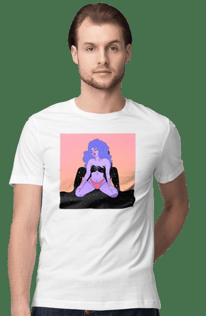 Футболка чоловіча з принтом Фіолетова Дівчина В Трусиках. 18+, інопланетянка, у трусах. CustomPrint.market