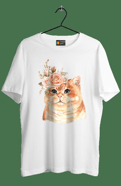 Футболка чоловіча з принтом Котик з кольорами. Квіти, кіт, котик.